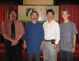 公劉子先生與臺灣中華茶文化學會范增平理事長、香港茶道總會創會會長葉惠民先生、澳門中華茶道會會長羅慶江先生在一起